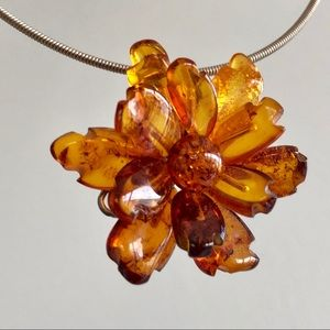 Baltic Amber and Sterling Silver Flower Pendant
